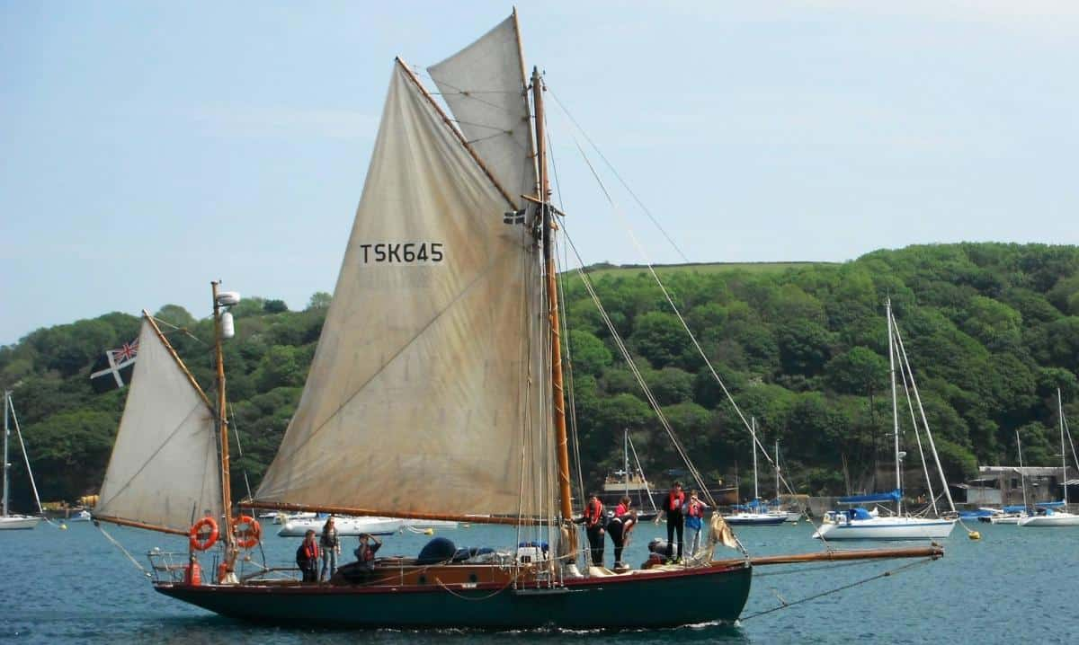 Moosk leaving the dock in Fowey Harbour