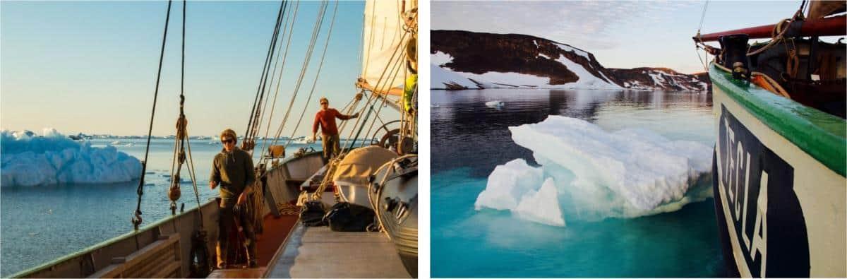 navigating the sea ice on Tecla in Greenland
