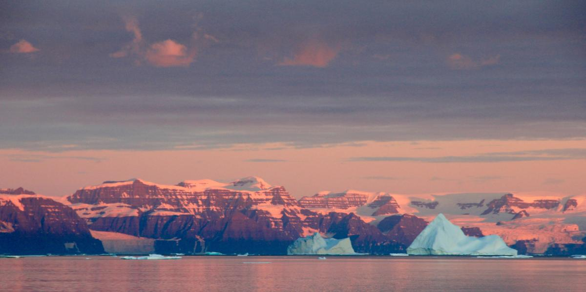 distinctive geology and icebergs in Greenland