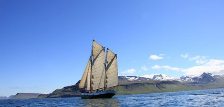 sailing in the breidurfjordur, iceland