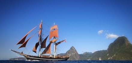 sailing in the caribbean on a brig