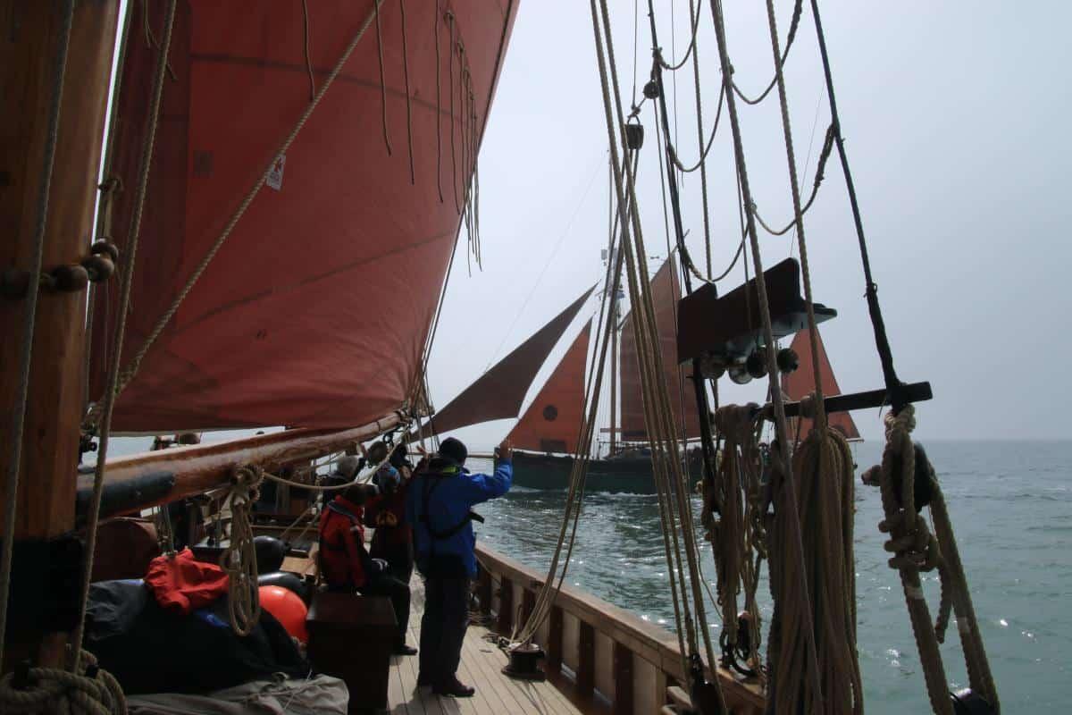 Brixham Trawlers - Provident sailing past Pilgrim