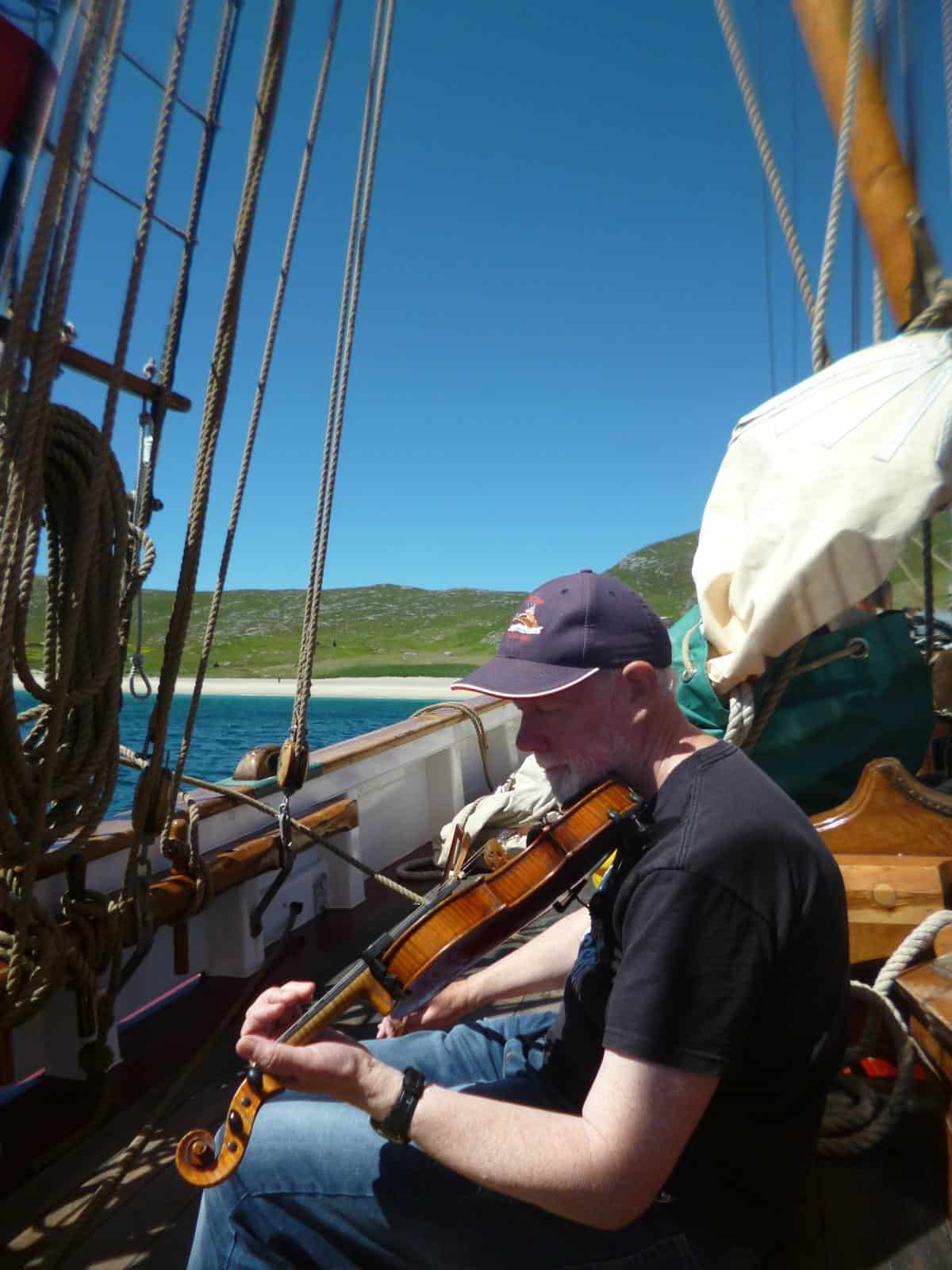 Andy playing the Mingulay Boat Song off Mingulay on Eda Frandsen by Helen Phillips July 18