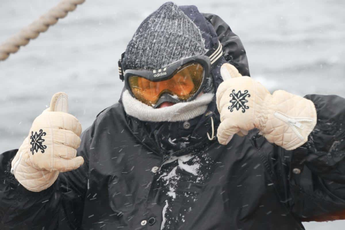 70 year old lookout in a blizzard with ski googles - no problem
