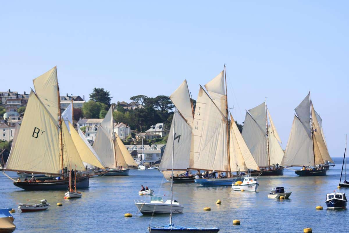 the Pilot cutters leave Fowey on the Annual Pilot Cutter Review- What a sight