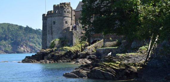 Dartmouth Castle from the Sea with Classic Sailing