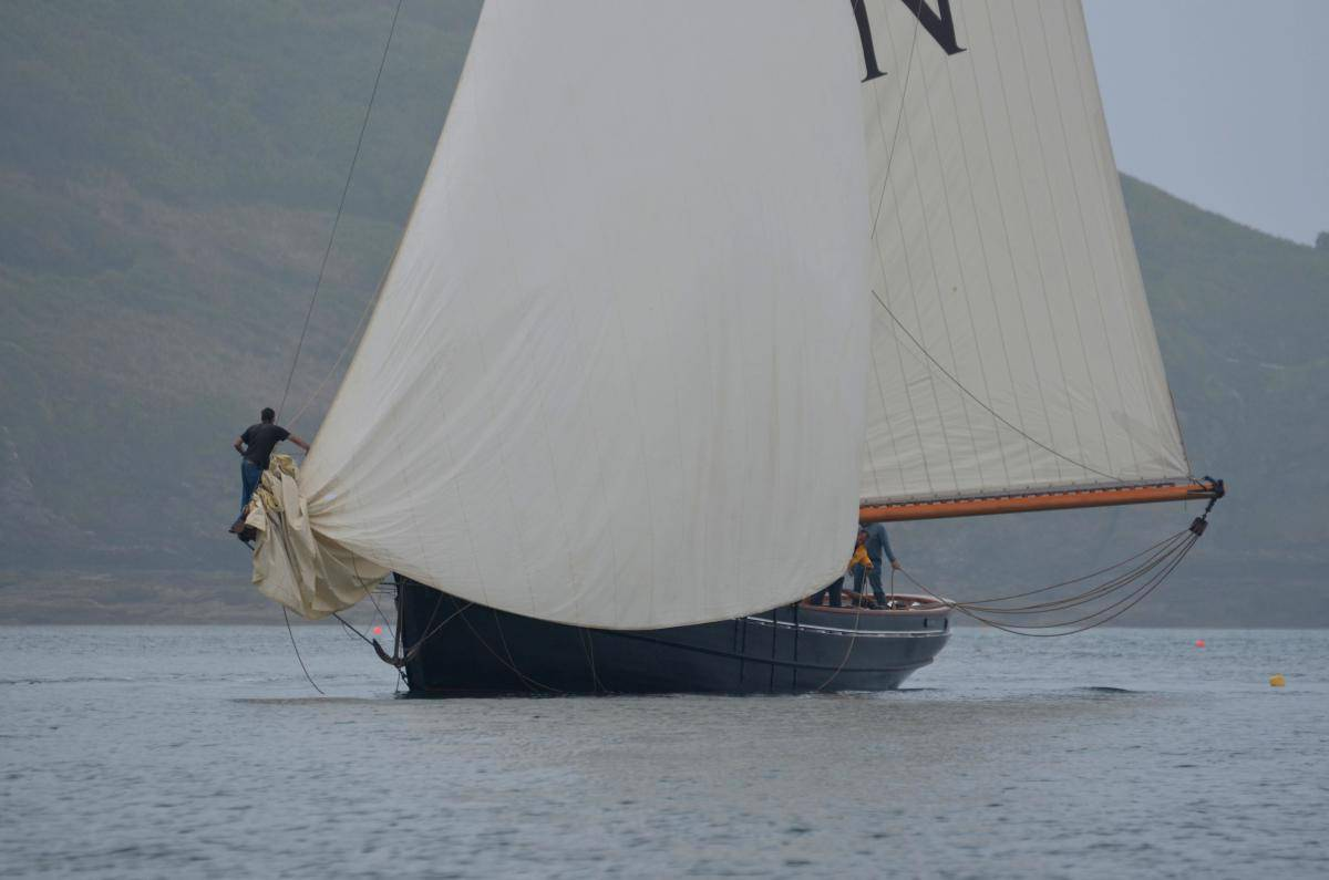 The Pilot Cutter Macotte ghosting into St Mawes under her ballon Jib