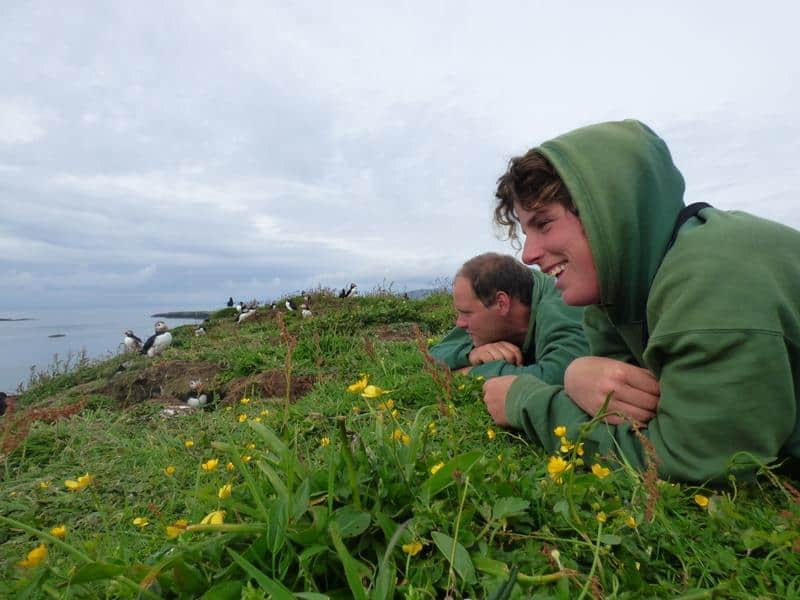 Getting down to a puffin's eye view with Eda Crew Mel and James
