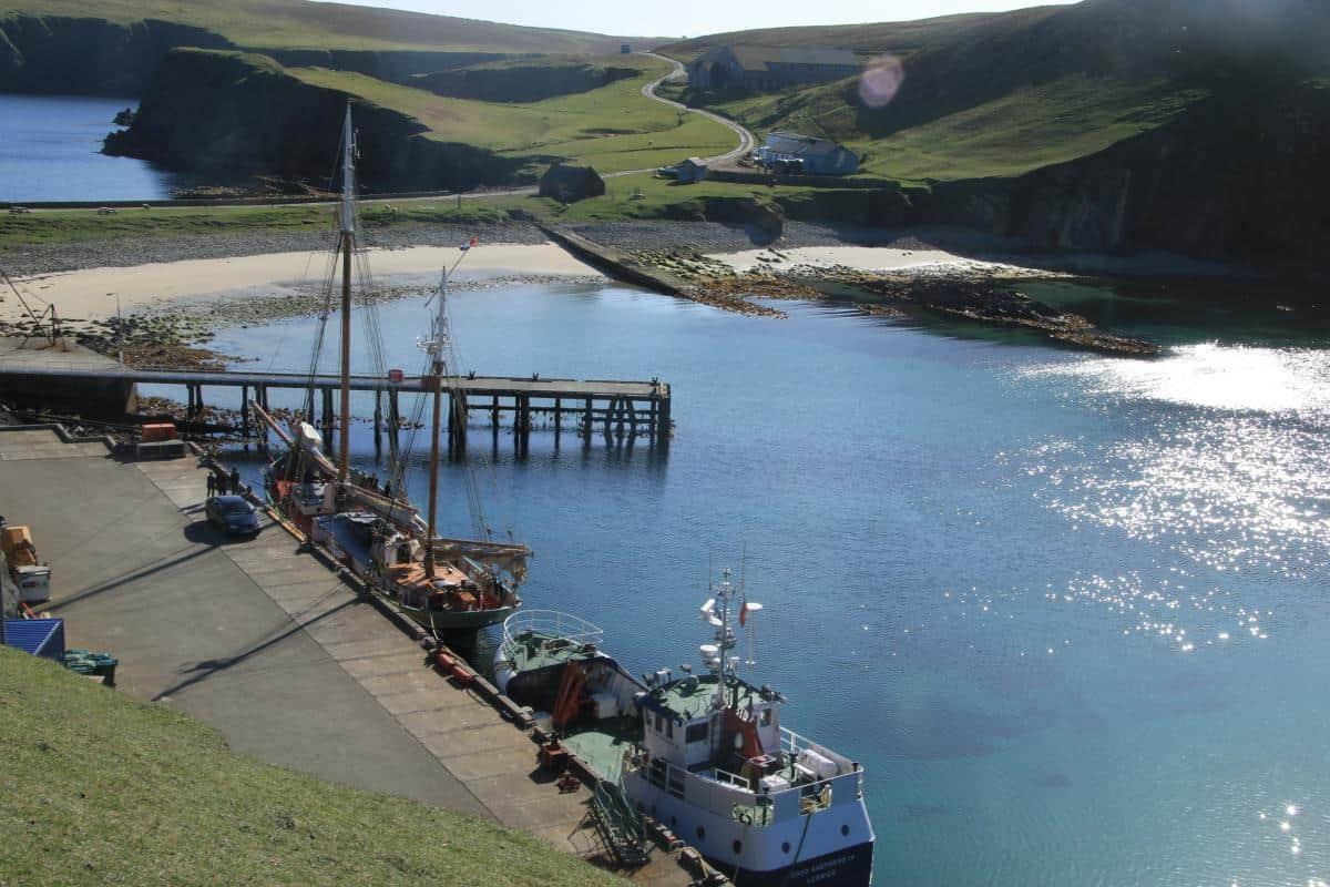 Tecla in a perfect little harbour on Fair isle