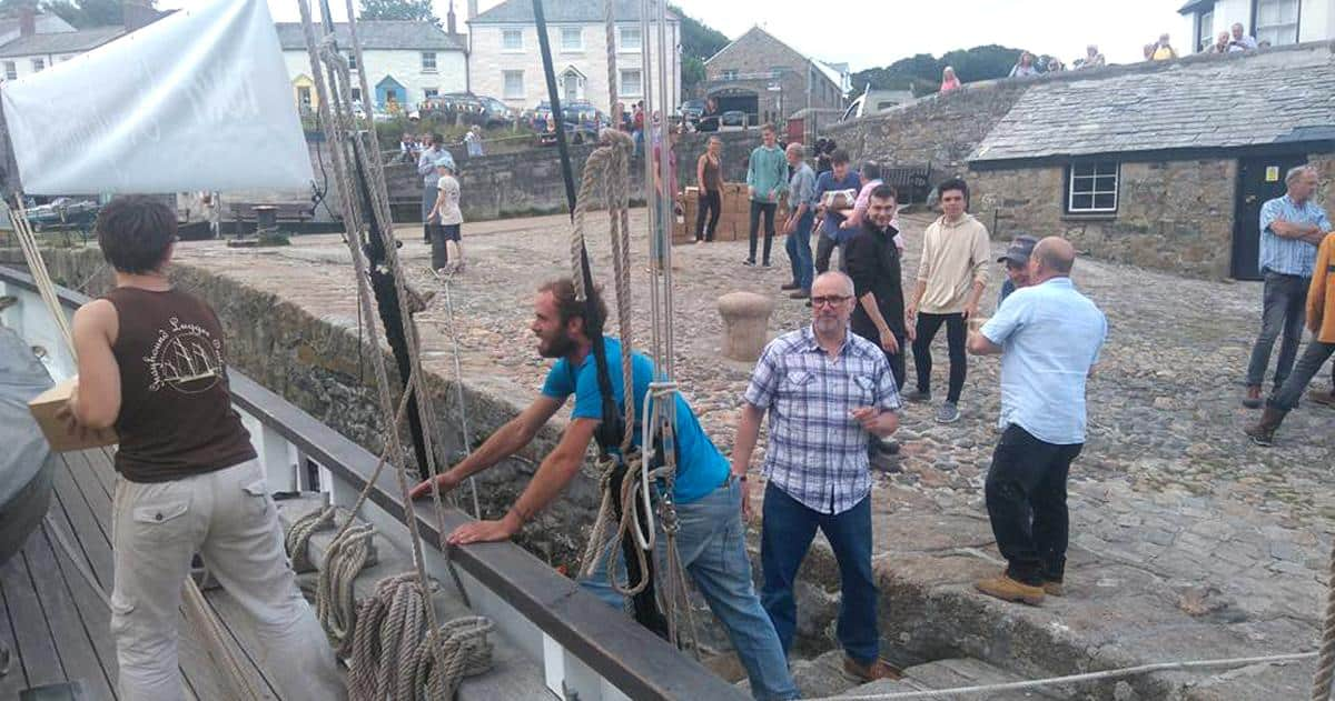 Unloading wine in Charlestown - the port used in BBC Poldark series.