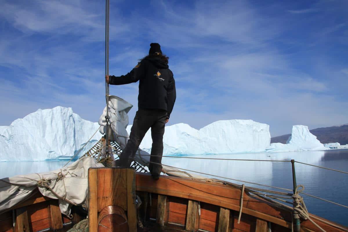 Lookout duty: Icebergs ahead on schooner Hildur in Greenland