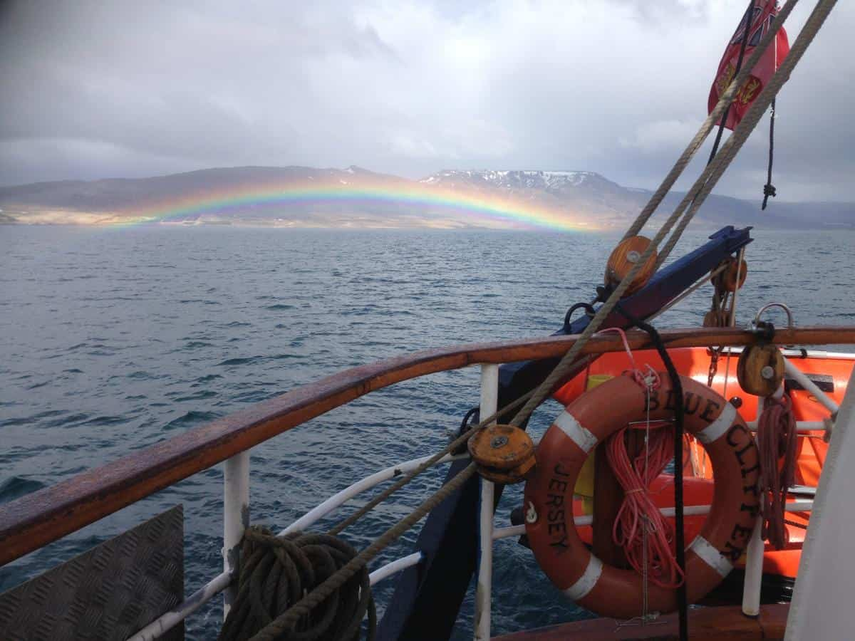 Blue Clipper in Iceland with a Rainbow