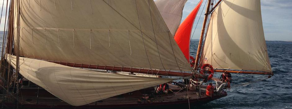 """Moosk under sail, gaff yawl RYA Yachtmaster courses on traditional boats"""