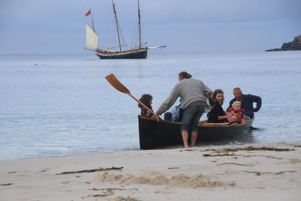 Grayhound crew ashore for an evening BBQ