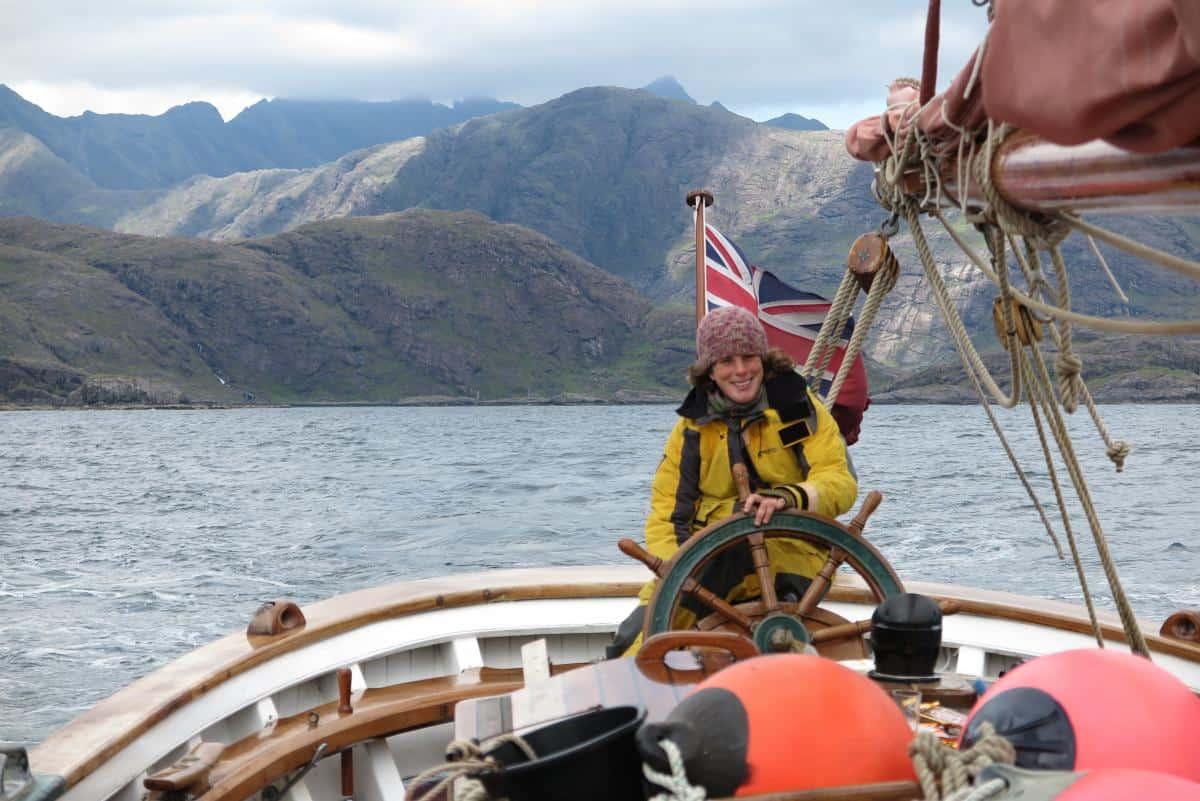 Sailing around Skye on Eda Frandsen. Melissa Williams on the Helm