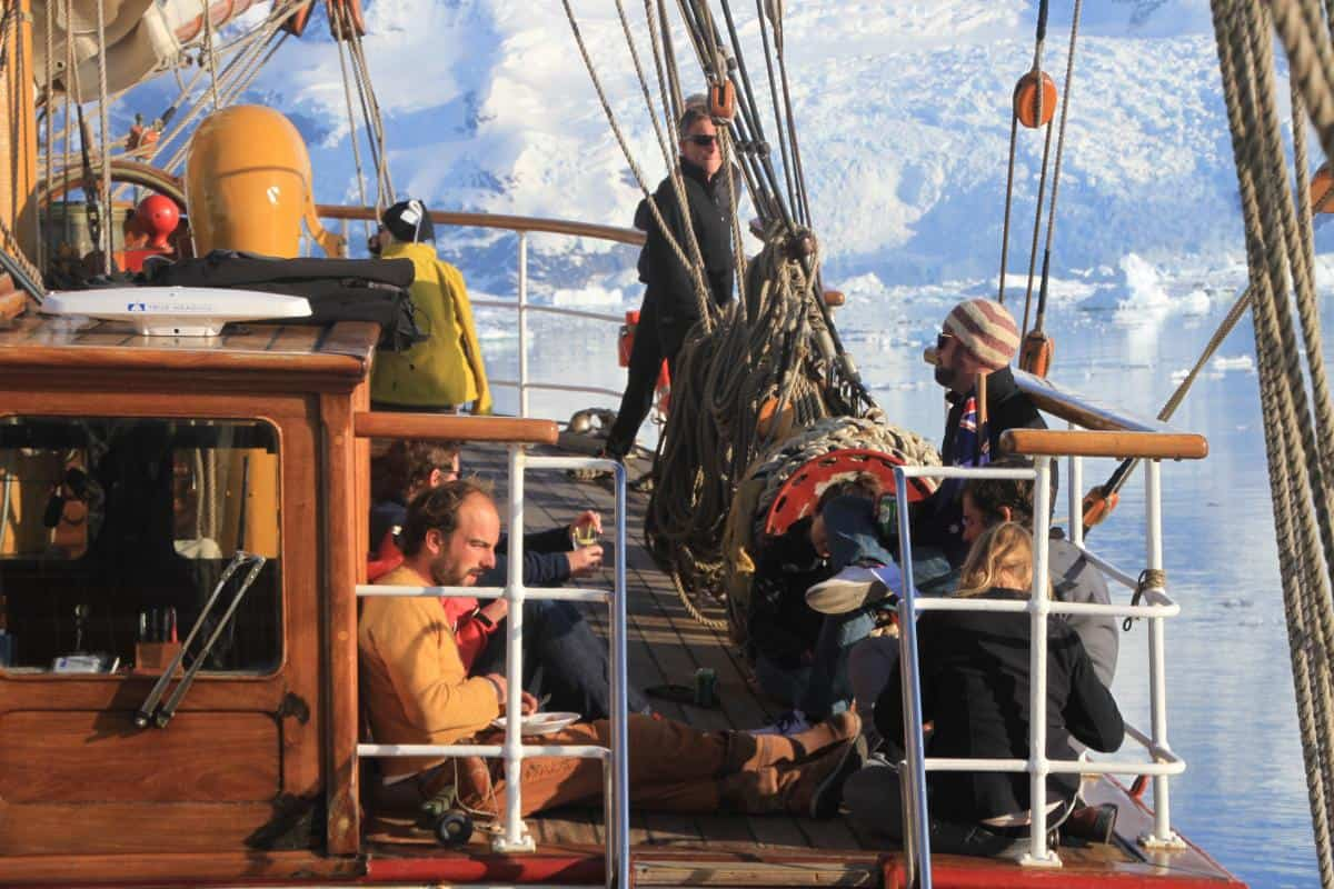 sunbathing and lunch on deck in Antarctica