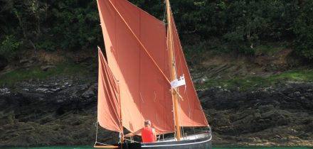 Sprit sail yawl Outdoor Girl is based in St Mawes for open boat sailing & camping expeditions