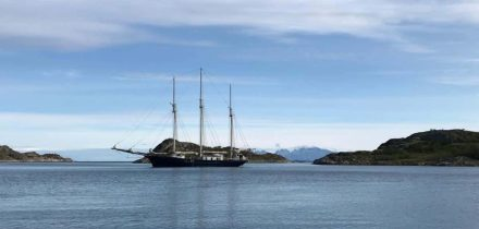 sailing blue clipper in Scotland
