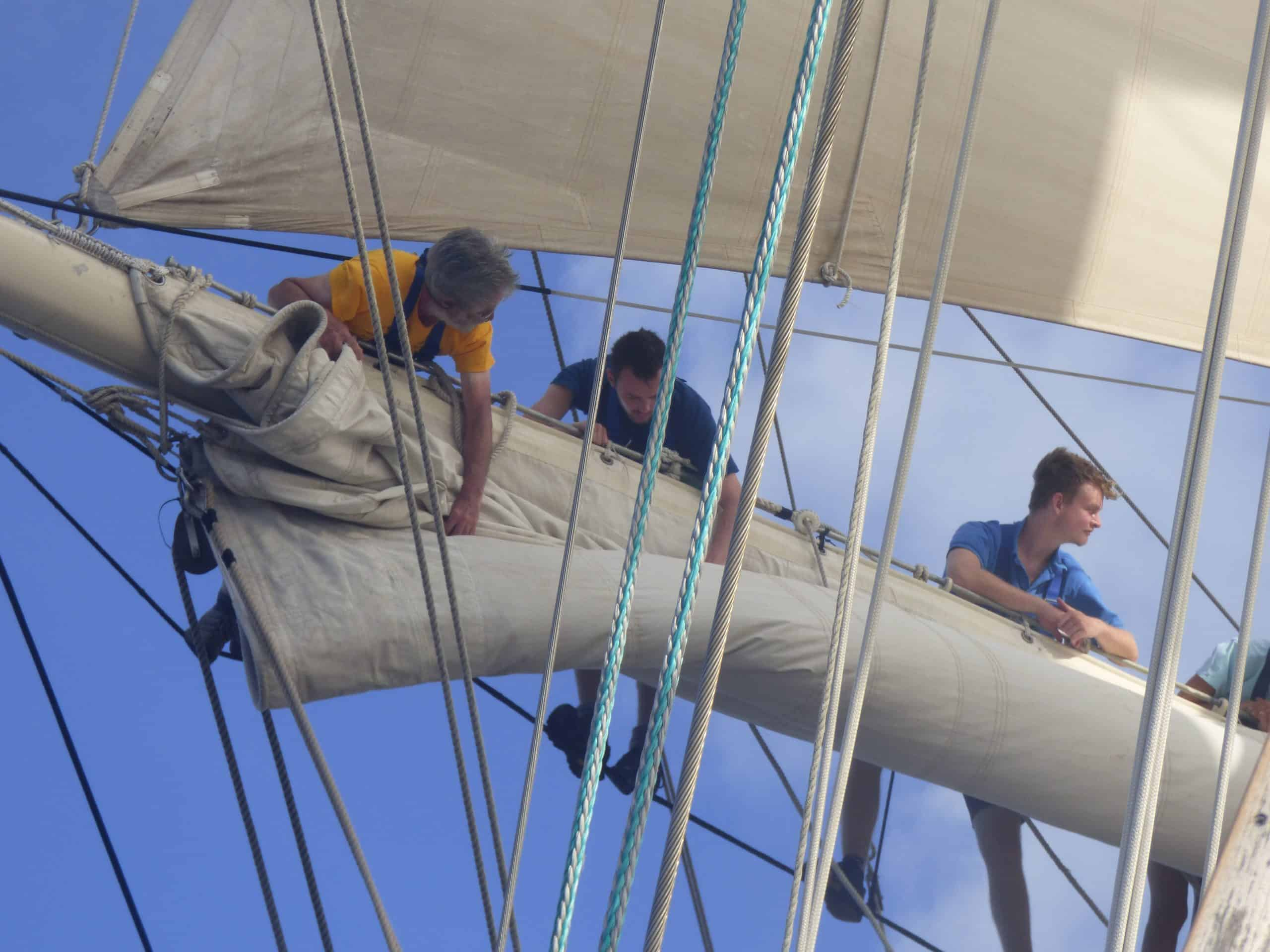 Learn to climb the rigging and furl sails, but also plenty of tall ship ropes to learn at deck lvel too on Tenacious