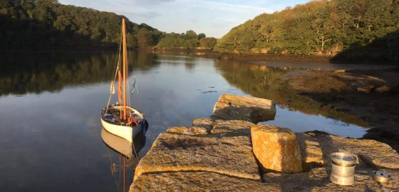wild camping in the Helford River by sailing boat
