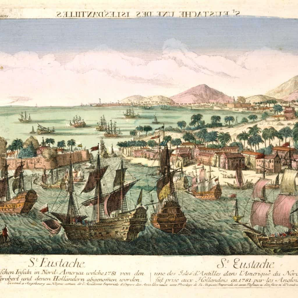 The island of St. Eustatius being taken by Admiral Rodney's English fleet in February 1781 The Caribbean on a Tall Ship Sailing Morgenster with Classic Sailing